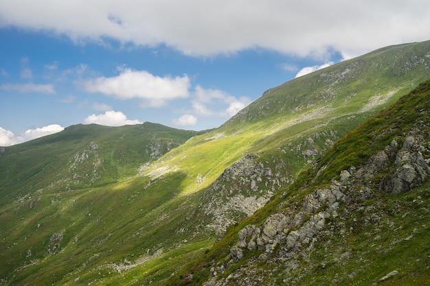 Landschaft von hügeln bedeckt mit gras und bäumen unter einem bewölkten himmel und sonnenlicht während des tages