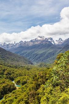 Landschaften des fiordland-nationalparks blick auf die berge