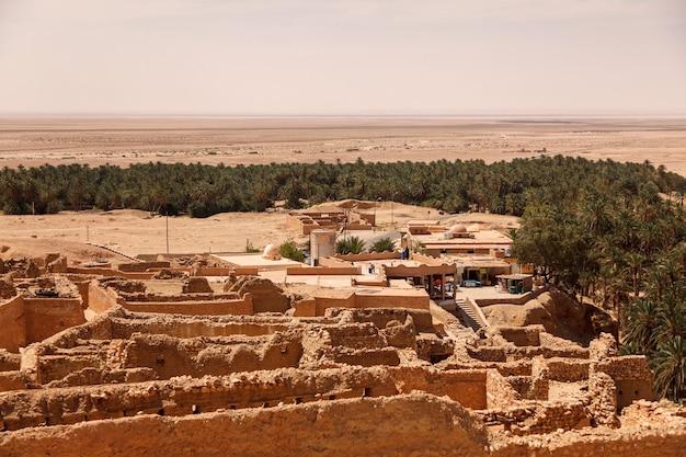 Landschafts-chebika-oase in der sahara-wüste. ruinen siedlung und palm