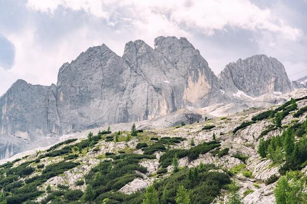 Landschaftsalpen mit hohem felsigem berg unter himmel