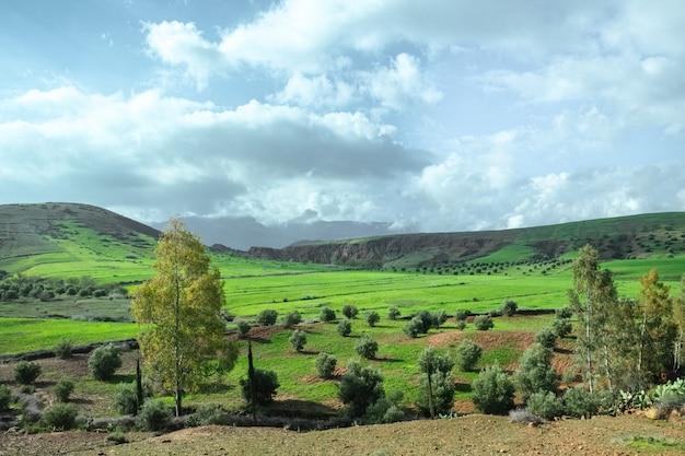 Landschaftsansicht des landwirtschaftsfeldes in der landschaft gegen berg und ky
