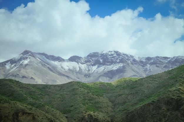 Landschaftsansicht des schnee mit einer kappe bedeckten atlasgebirges