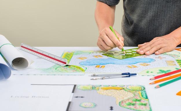 Landschaftsarchitektdesignhinterhof-poolplan für erholungsort