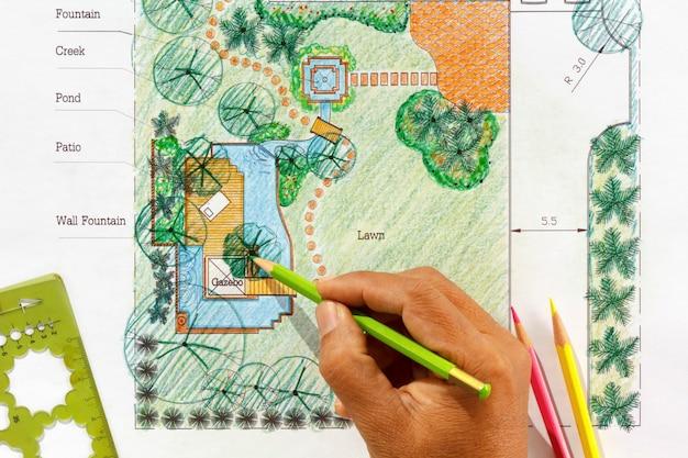 Landschaftsarchitektentwurf für wassergartenpläne für hinterhof