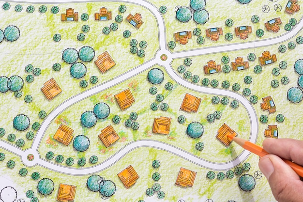 Landschaftsentwürfe blaupausen für resort