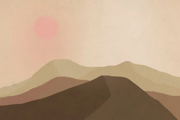 Landschaftshintergrund der berge mit der sonnenillustration