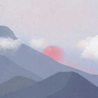 Landschaftshintergrund der berge während der dämmerungsillustration