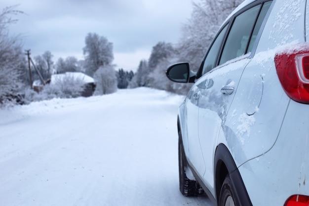 Landschaftsstraße im winterwald mit schneebedeckter wildnis