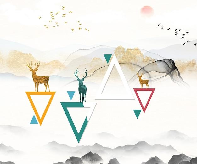 Landschaftstapete mit dreieck und dunkelgrauen bergen. sonne und vögel in himmelswolken