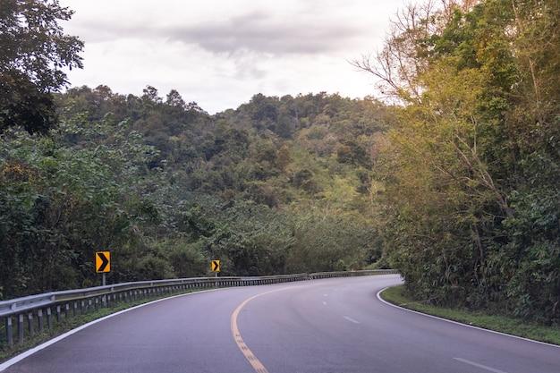 Landstraße kurvte im grünen wald durch die berge