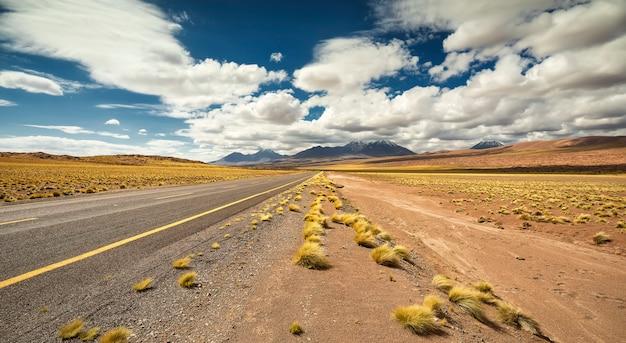 Landstraßenstraße und trockenes gras in atacama-wüste in chile mit gelber und blauer landschaft, südamerika