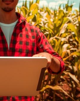 Landwirt, der digitalen tablet-computer, kultivierte maisplantage im hintergrund verwendet