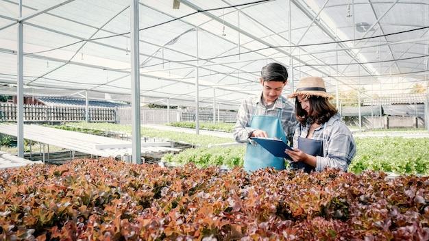Landwirt prüfen die qualität von gemüse-bio-salat aus hydrokultur-farm und notizen in der zwischenablage