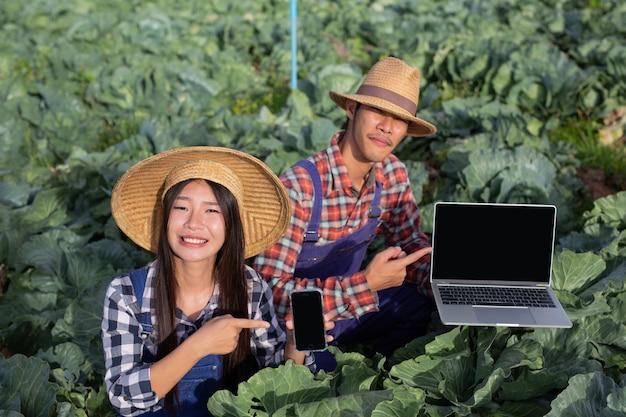 Landwirtschaft männer und frauen, die mit technologie ihr gemüse in der modernen landwirtschaft analysieren.