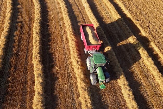Landwirtschaftliche maschinen auf dem goldenen feld. traktor während der saisonarbeiten im sommer.