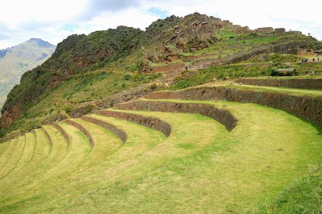 Landwirtschaftliche terrassen des inkas und alte ruinen an archäologischer fundstätte pisac, cusco, peru