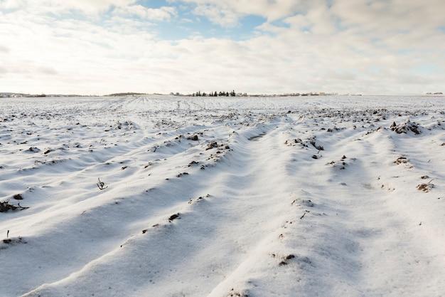 Landwirtschaftliches feld, das im winter gepflügt wurde.