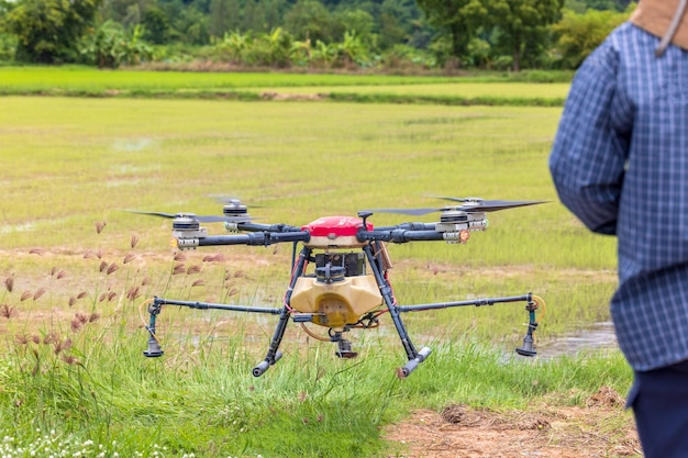 Landwirtschaftsbauerin hält tablet, um einen bericht über das reislandwirtschaftsfeld, das agrartechnologiekonzept anzuzeigen. landwirtschaftsdrohne fliegt zu versprühtem dünger auf den reisfeldern.