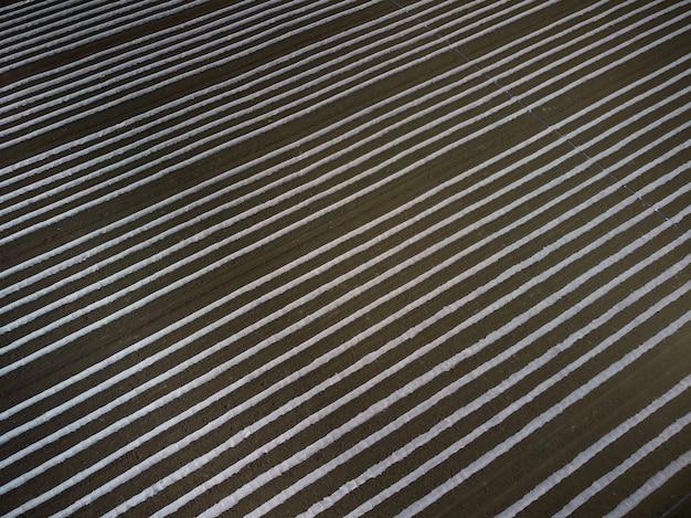 Landwirtschaftsfeld mit plastikfolien-luftdrohnenansicht bedeckt