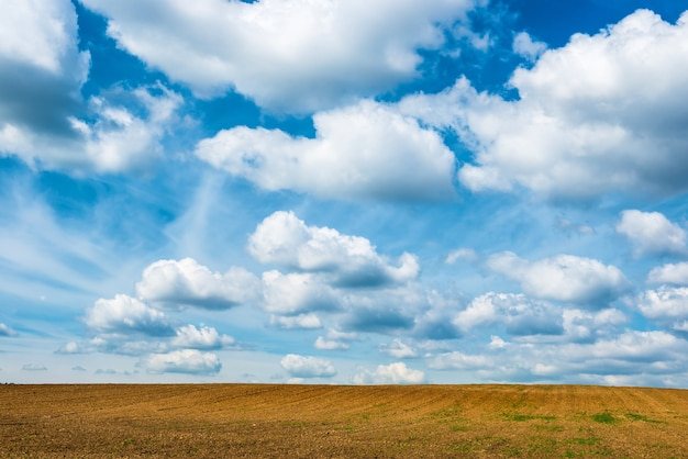 Landwirtschaftsfeld und blauer himmel mit wolken.