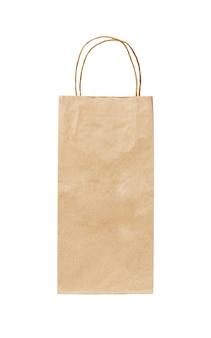 Lange einkaufstasche des recyclingpapierkraftpapiers lokalisiert auf weiß