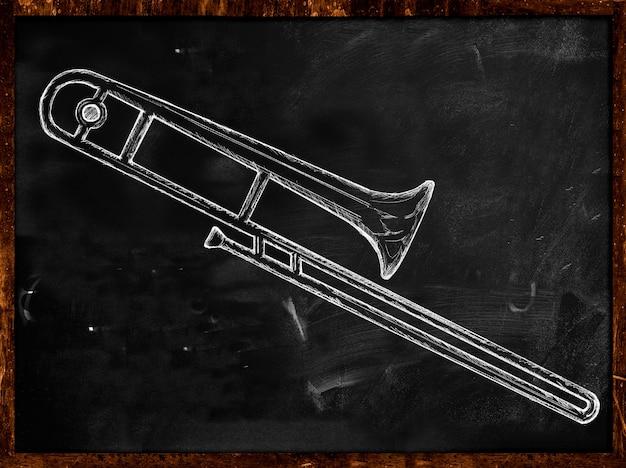 Lange trompeten skizze auf tafel