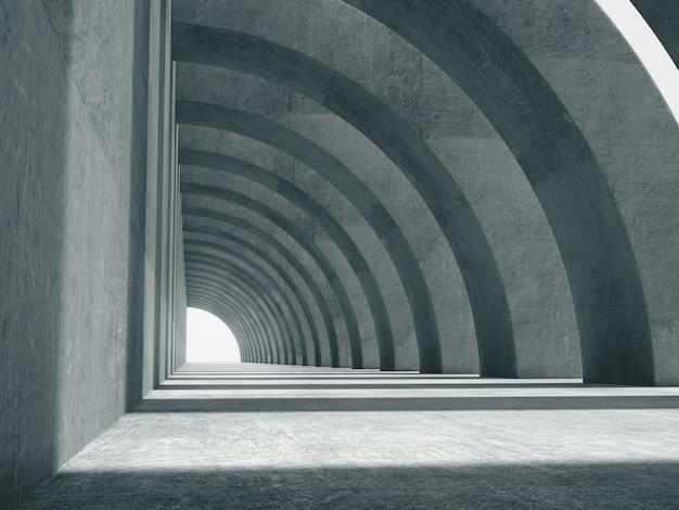 Langer betonkorridorraum.