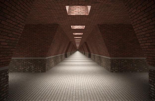Langer korridor innenvisualisierung 3d-darstellung cg render
