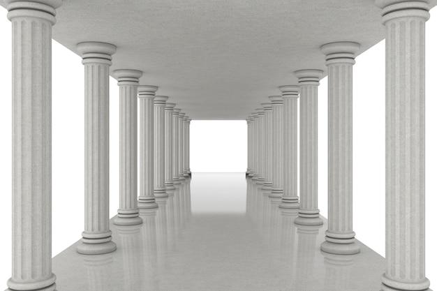Langer korridor-tunnel zwischen klassischen säulen auf weißem hintergrund. 3d-rendering