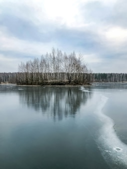 Langer riss im transparenten blauen eis des gefrorenen sees mit blattlosen bäumen auf kleiner insel auf horizontwinterlandschaft