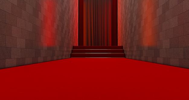 Langer roter teppich am eingang. weg zum erfolg auf dem roten teppich