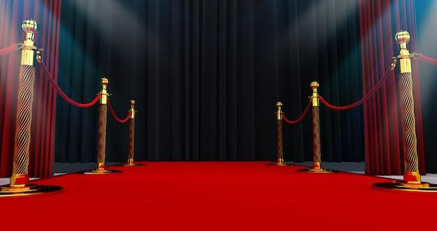 Langer roter teppich zwischen seilbarrieren am eingang. weg zum erfolg auf dem roten teppich. der weg zum ruhm. treppe hoch. 3d-rendering