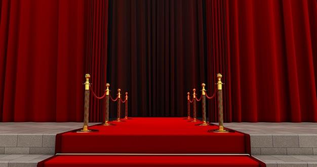 Langer roter teppich zwischen seilbarrieren am eingang. weg zum erfolg auf dem roten teppich. der weg zum ruhm. treppe hoch