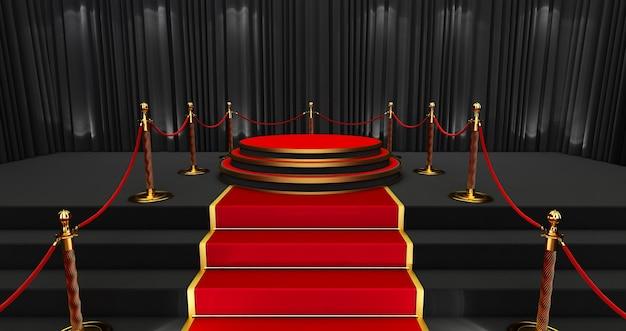Langer roter teppich zwischen seilbarrieren, realistischer roter teppich und sockel.