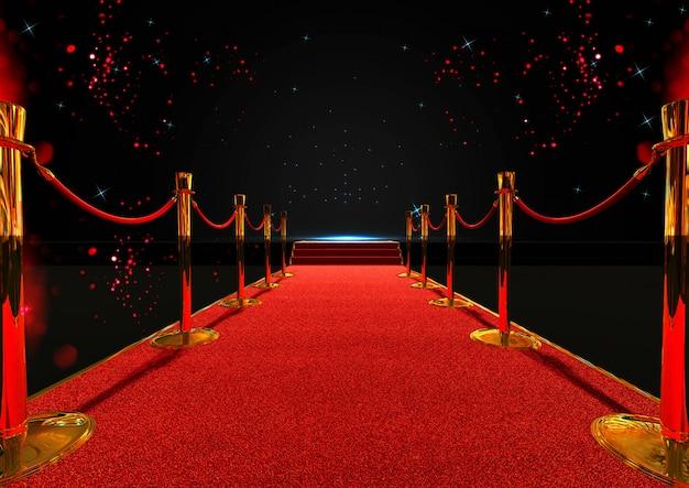 Langer roter teppich zwischen seilsperren mit treppe am ende
