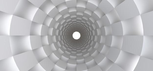 Langer weißer tunnel als abstrakter hintergrund für ihr design. 3d.