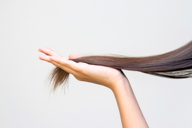 Langes braunes haar auf der handfläche, haarpflege