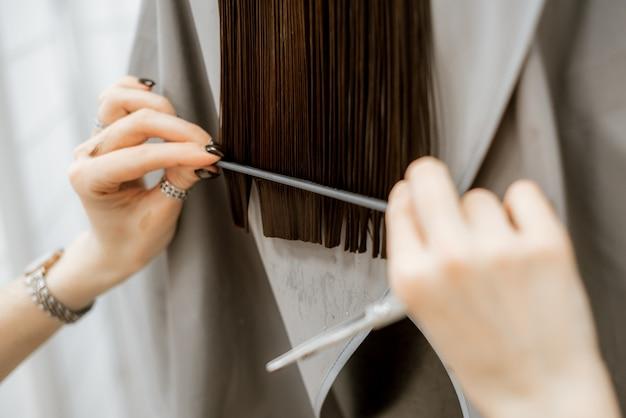 Langes brünettes haar, pflege und haarschnitt beim friseur. beauty-salon für frauen