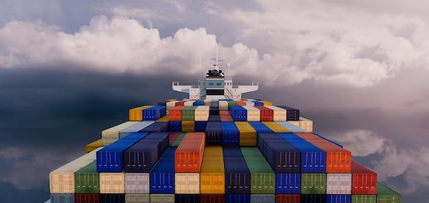 Langfristiges internationales frachtschifffahrts-container- und handelslogistikgeschäft, 3d-illustrationen rendering