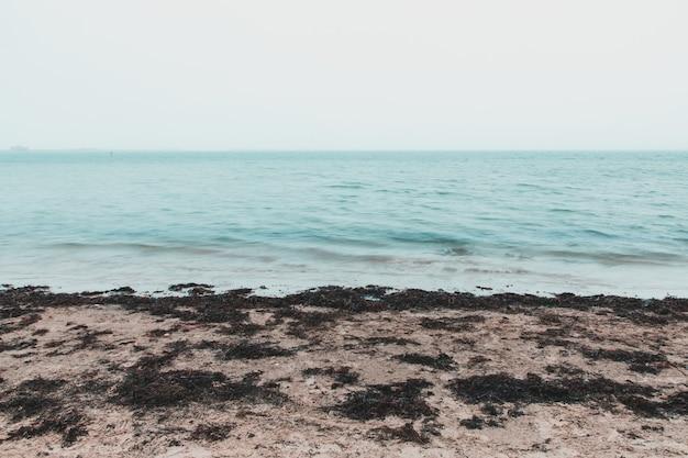 Langzeitbelichtung des meeres am sandsfoot beach, weymouth, großbritannien an einem nebligen tag