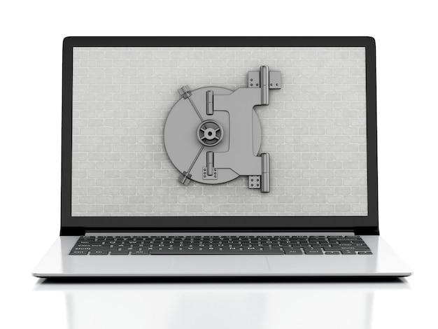 Laptop 3d mit backsteinmauer und sicherer tür.