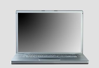 Laptop auf grauem Hintergrund