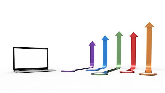 Laptop auf weißem hintergrund mit pfeildiagramm isoliert.