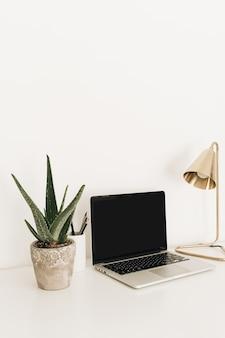 Laptop auf weißem tisch mit goldener lampe und hauptpflanze aloe vera.