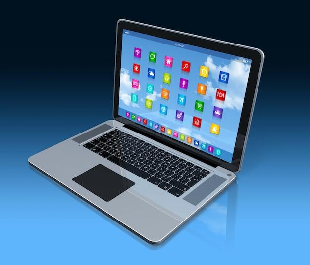 Laptop-computer, apps ikonenschnittstelle