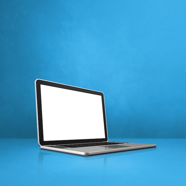 Laptop-computer auf blauem büroszenenhintergrund. 3d-illustration