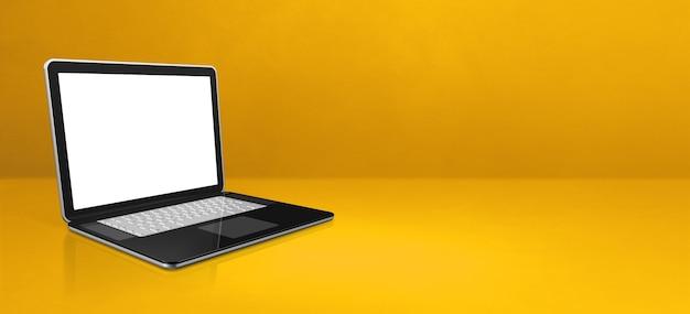 Laptop-computer auf gelbem büroszenenhintergrundfahne. 3d-illustration