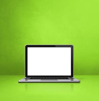 Laptop-computer auf grünem büroszenenhintergrund. 3d-illustration