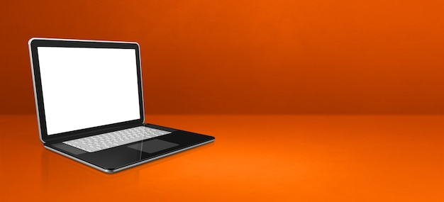 Laptop-computer auf orangeem büroszenenhintergrundbanner. 3d-illustration