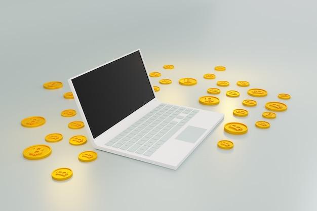 Laptop-computer mit bitmünzen-kryptowährungsgeld geschäftsvermögensfinanzierungskonzept 3d illustration
